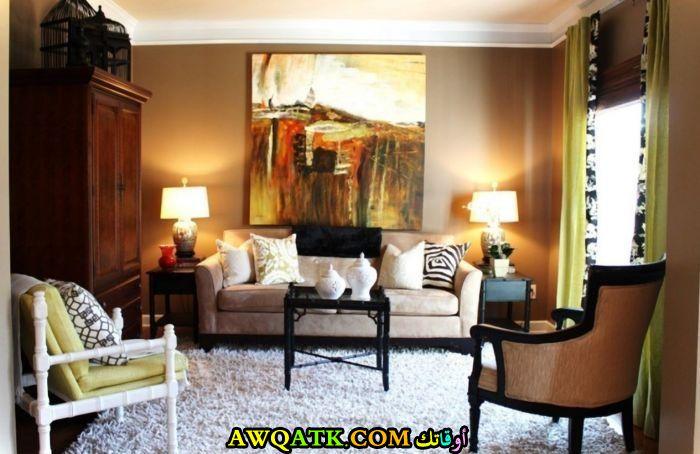 غرفة معيشة بألوان مبهجة في منتهي الروعة والجمال