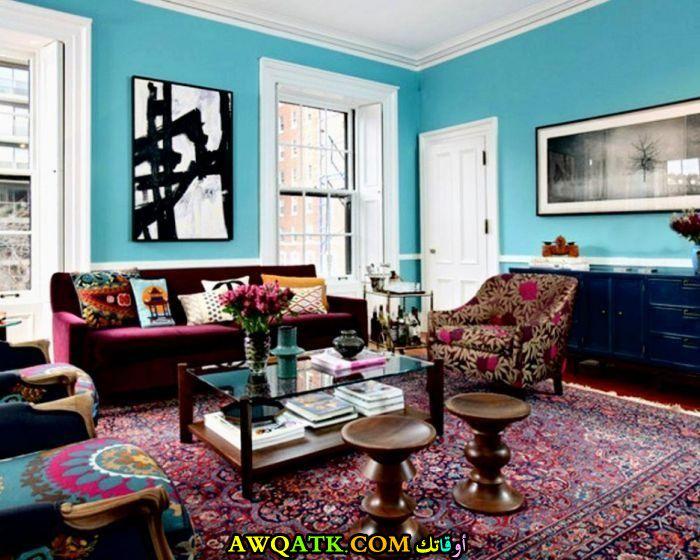غرفة معيشة بألوان مبهجة روعة وشيك