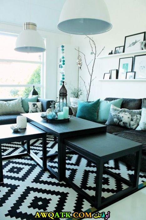 غرفة معيشة باللون التركواز جديدة وعصرية
