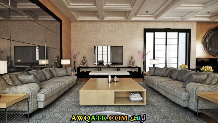 غرفة معيشة تركية هادية وبسيطة