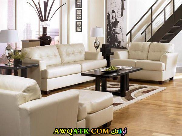 غرفة معيشة جلد حلوة جداً وجميلة