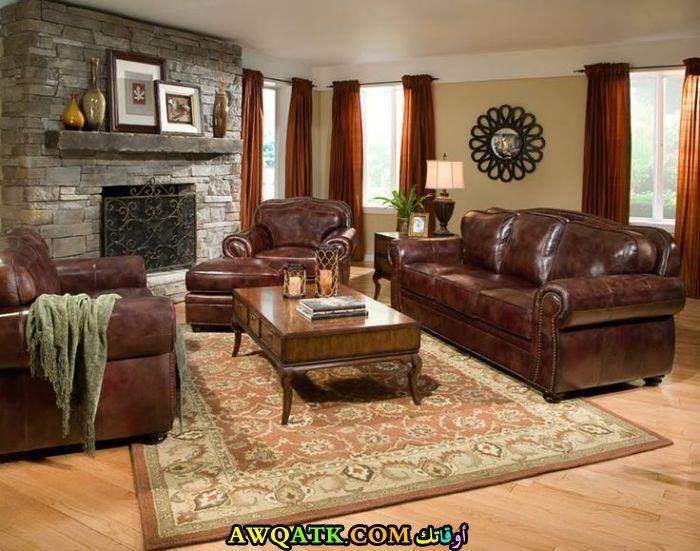 غرفة معيشة جلد تناسب مختلف الأذواق