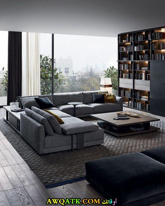 غرفة معيشة حديثة مودرن باللون الرمادي