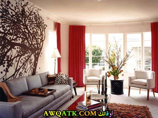 غرفة معيشة باللون الأحمر أنيقة وجميلة