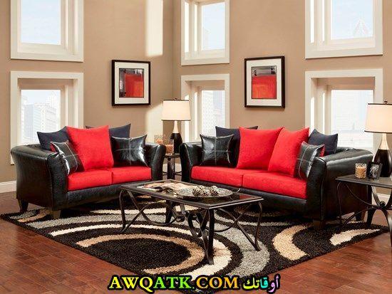غرفة معيشة باللون الأحمر حلوة جداً