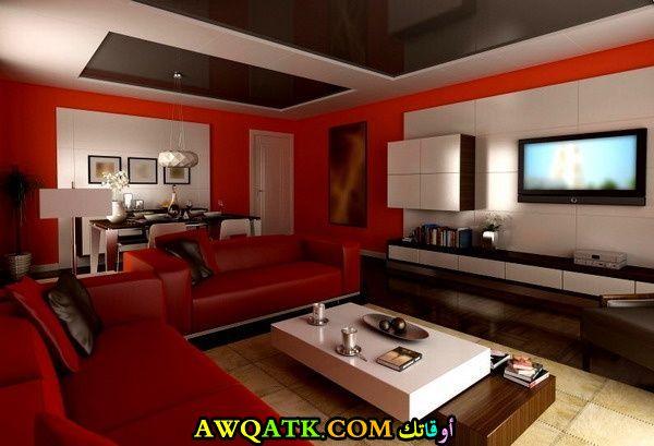 غرفة معيشة باللون الأحمر جديدة