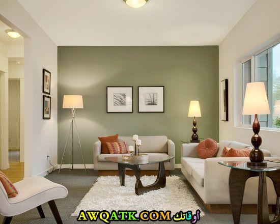 غرفة معيشة خضراء راقية وشيك