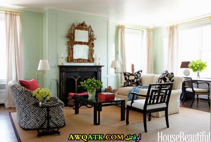 غرفة معيشة باللون الأخضر رائعة