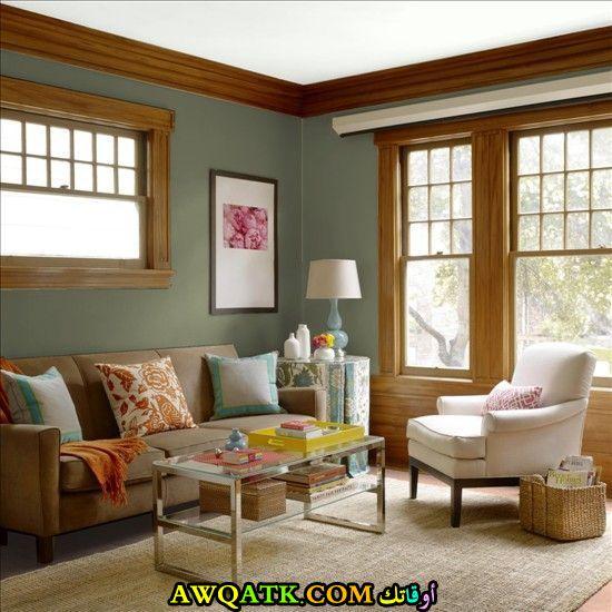 غرفة معيشة باللون الأخضر حلوة جداً
