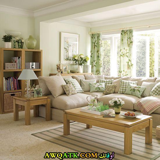 غرفة معيشة باللون الأخضر روعة وشيك