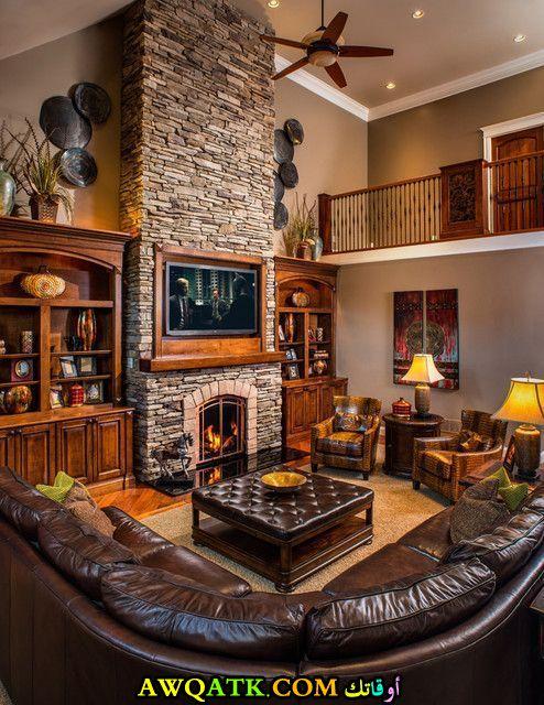 غرفة معيشة ريفية رائعة وشيك