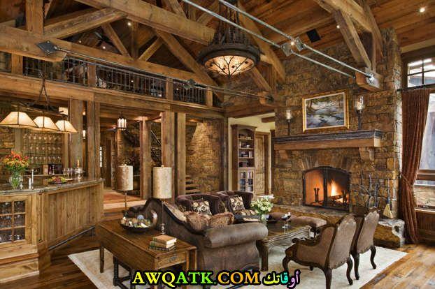 غرفة معيشة ريفية في منتهي الجمال