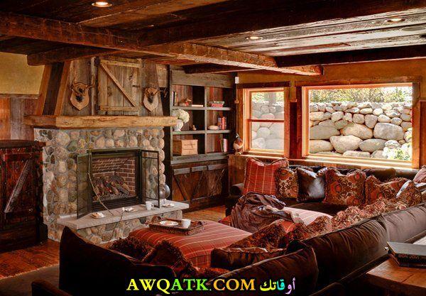 غرفة معيشة ريفية شيك جداً