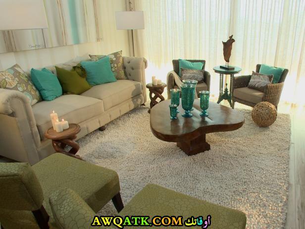 غرفة معيشة باللون الزيتي حلوة جداً