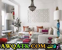 غرفة معيشة سمبل باللون الأبيض