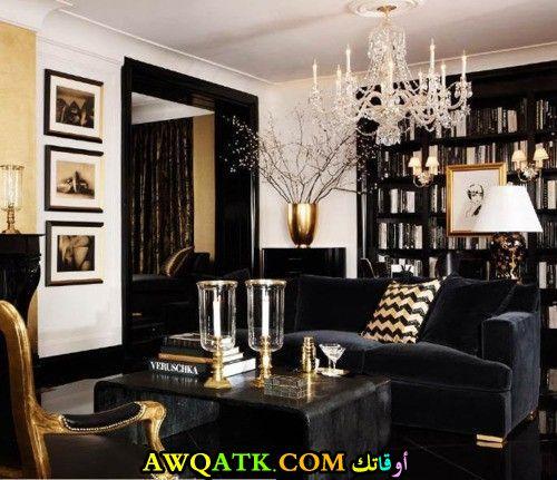 غرفة معيشة باللون الأسود جميلة جداً