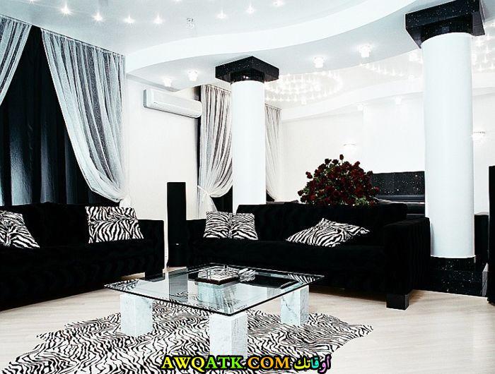 غرفة معيشة باللون الأسود جميلة ورائعة