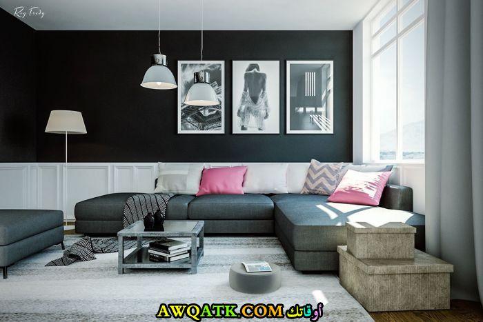 غرفة معيشة باللون الأسود جميلة وراقية