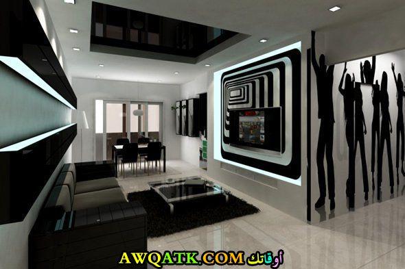 غرفة معيشة باللون الأسود جديدة وعصرية