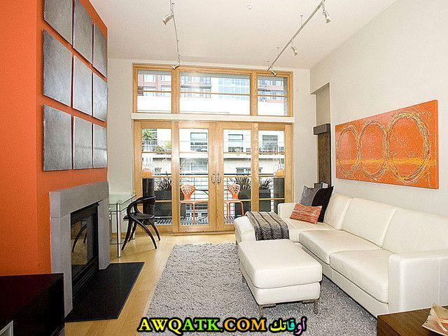 غرفة معيشة ضيقة باللون الأبيض جميلة