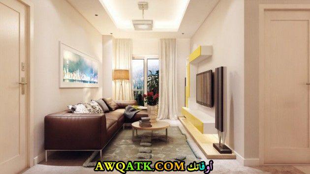 غرفة معيشة ضيقة جديدة وعصرية