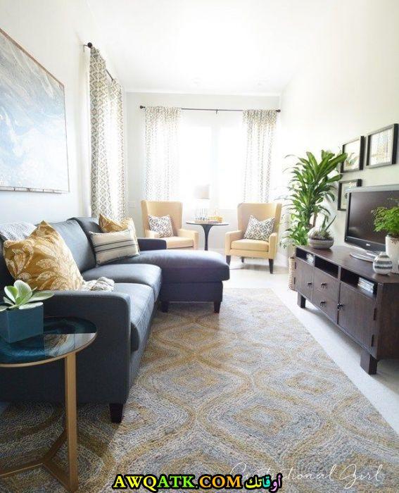 غرفة معيشة ضيقة وبسيطة