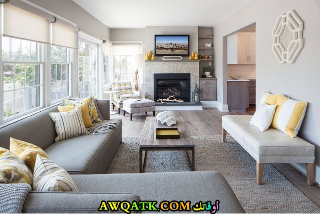 غرفة معيشة طويلة أنيقة وجميلة