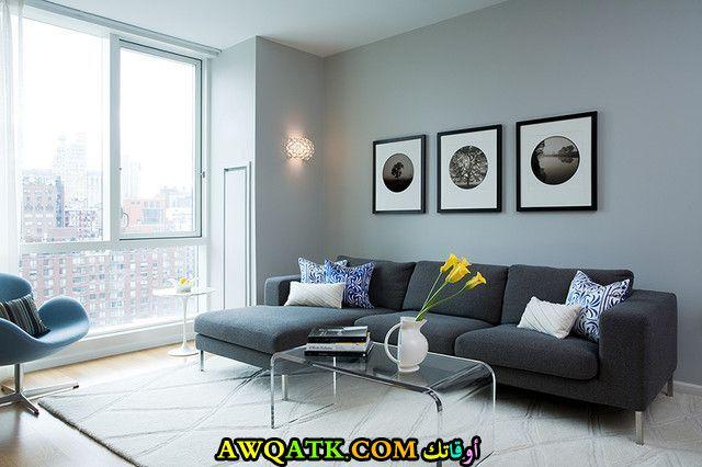 غرفة معيشة عصرية باللون الرمادي جميلة