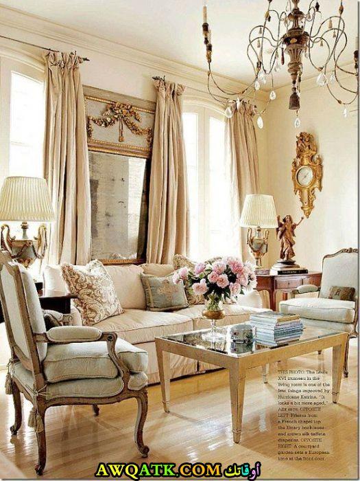 غرفة معيشة فرنسية تناسب الذوق الهادي