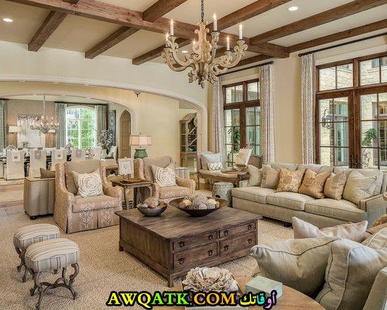 غرفة معيشة فرنسية جميلة وبسيطة