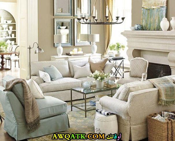 غرفة معيشة فرنسية جديدة وجميلة