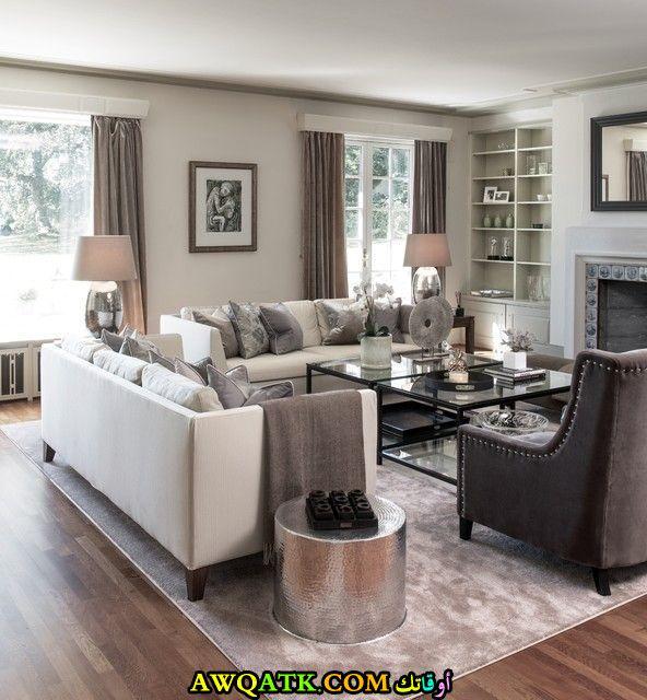 غرفة معيشة باللون الفضي تناسب الذوق الهادي
