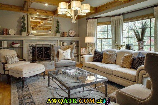 غرفة معيشي باللون الفضي مودرن وشيك