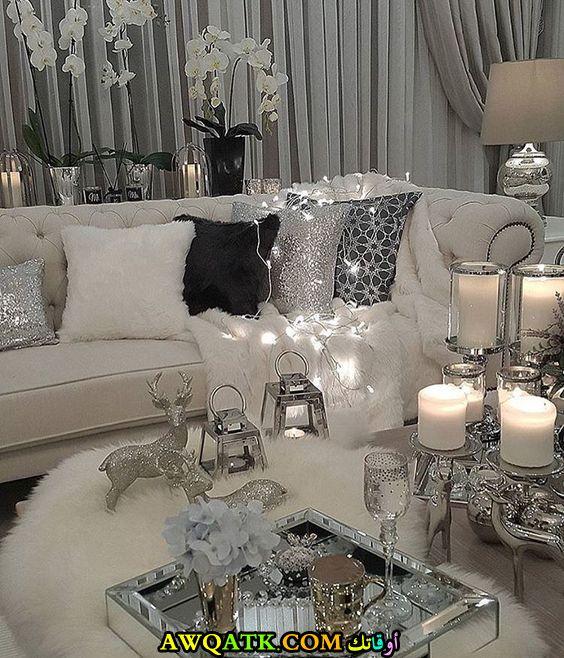 غرفة معيشة باللون الفضي رائعة وشيك