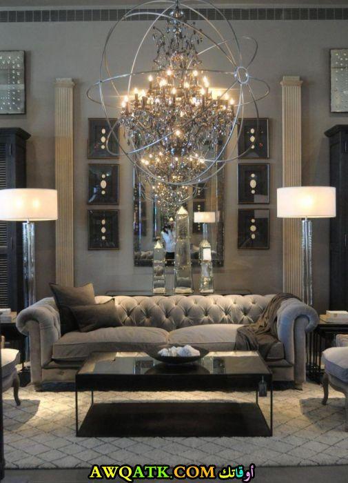 غرفة معيشة باللون الفضي روعة