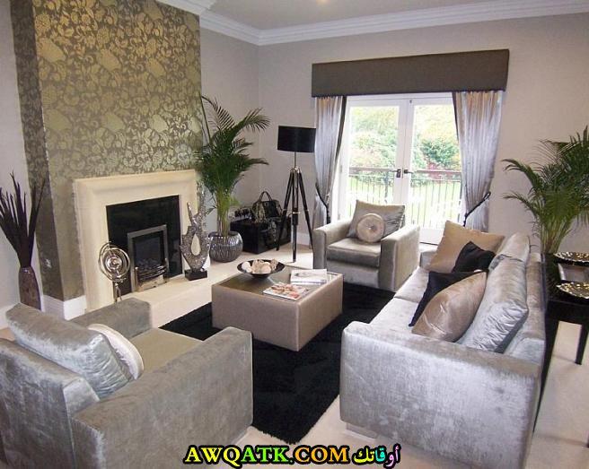 غرفة معيشة باللون الفضي رائعة