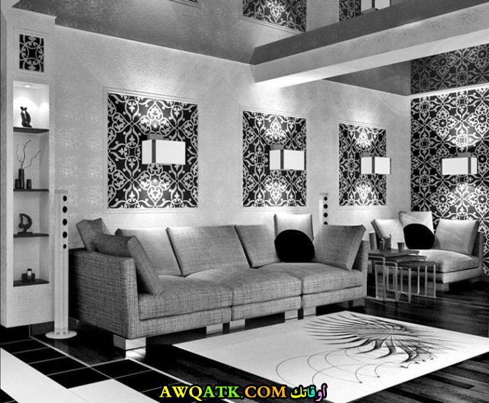 غرفة معيشة باللون الفضي حلوة جاً