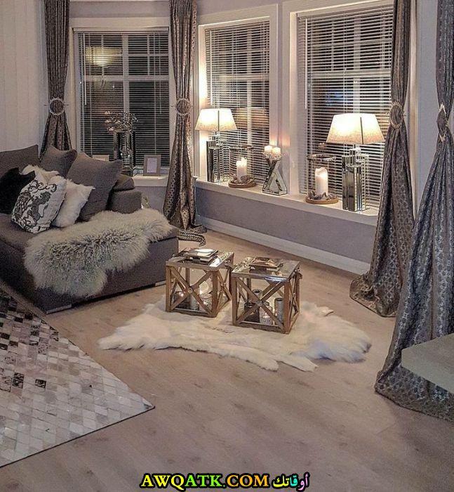 غرفة معيشة مودرن باللون الفضي