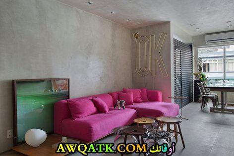 غرفة معيشة باللون الفوشيا بسيطة وجميلة