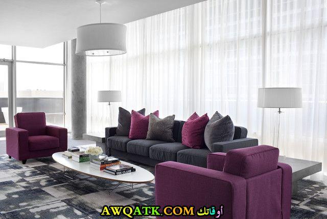 غرفة معيشة باللون الفوشيا جديدة وعصرية