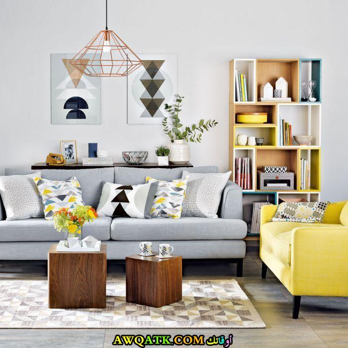 غرفة معيشة مودرن باللون الرمادي جميلة جداً