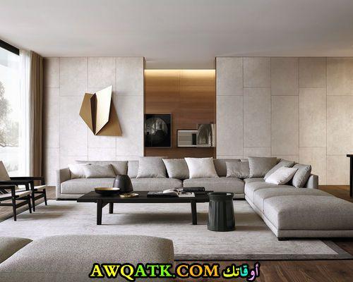 من أجمل وأشيك غرف معيشة مودرن باللون الرمادي