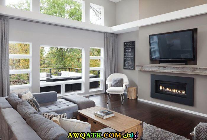غرفة معيشة مودرن باللون الرمادي رائعة وشيك