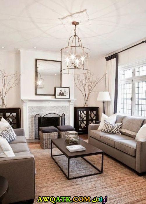 غرفة معيشة مودرن باللون الرمادي شيك جداً