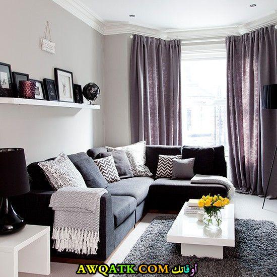 غرفة معيشة باللون الموف جديدة وعصرية