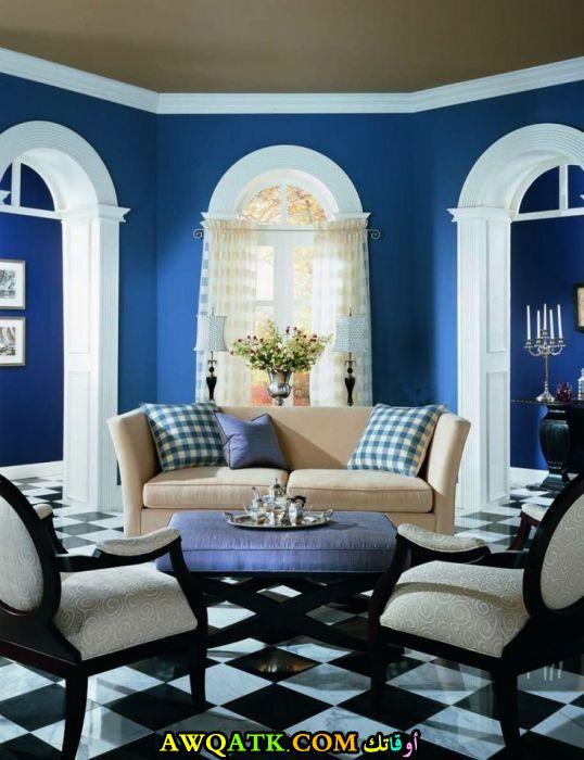 غرفة نوم باللون الأزرق في منتهي الروعة