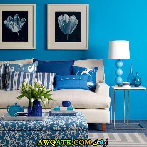 غرفة نوم باللون الأزرق في منتهي الجمال