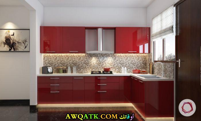 مطبخ أكريليك باللون الأحمر جميل جداً
