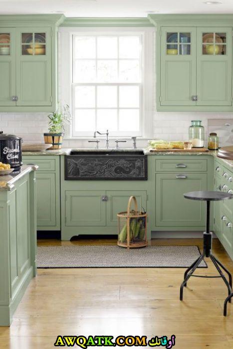 مطبخ باللون الأخضر عصري وجديد
