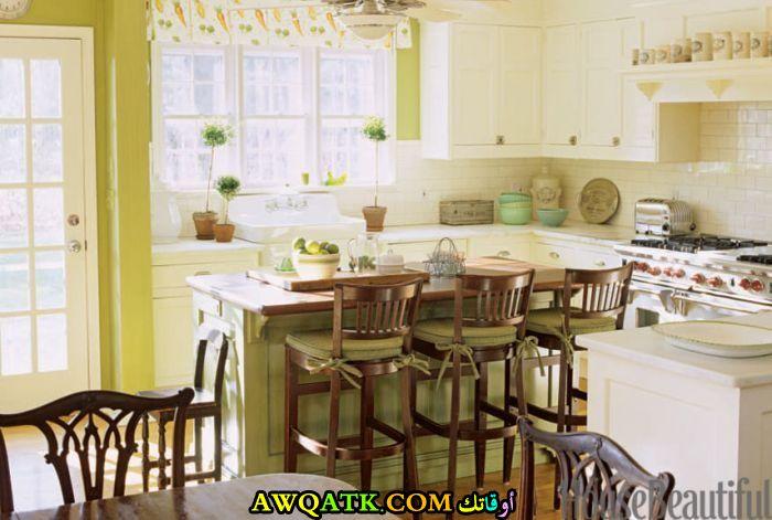 مطبخ أمريكي باللون الأخضر